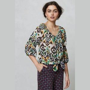 Vanessa Virginia Sveta 100% Silk Peasant Blouse